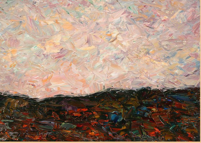 Land Greeting Card featuring the painting Land And Sky by James W Johnson