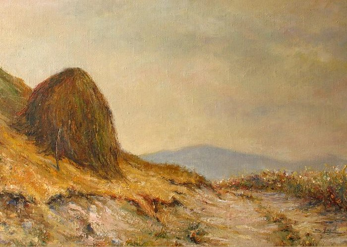 Armenia Greeting Card featuring the painting Landscape With A Hayrick by Tigran Ghulyan
