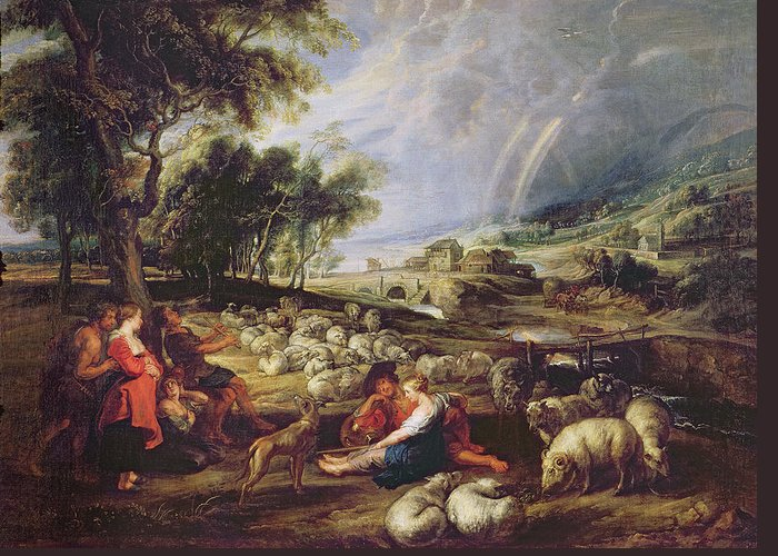 Landscape Greeting Card featuring the painting Landscape With A Rainbow by Rubens