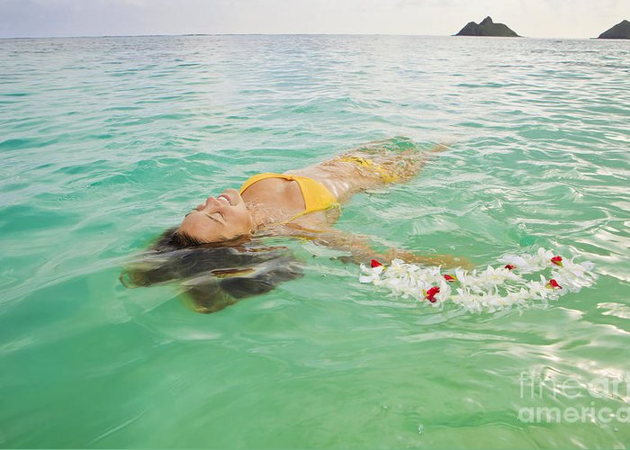 Bikini Greeting Card featuring the photograph Lanikai Floating Woman by Tomas del Amo - Printscapes