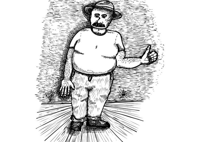 Drawing Greeting Card featuring the drawing Large Man by Karl Addison