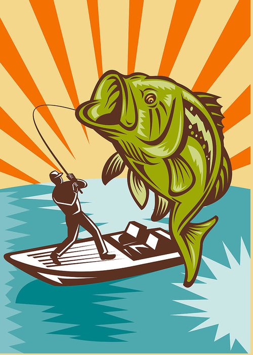 Largemouth Greeting Card featuring the digital art Largemouth Bass Fish And Fly Fisherman by Aloysius Patrimonio