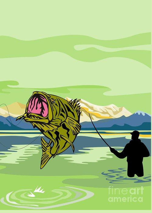 Largemouth Greeting Card featuring the digital art Largemouth Bass Fish Jumping by Aloysius Patrimonio