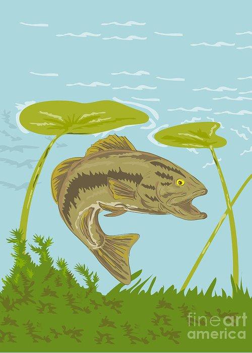 Largemouth Greeting Card featuring the digital art Largemouth Bass Fish Swimming Underwater by Aloysius Patrimonio