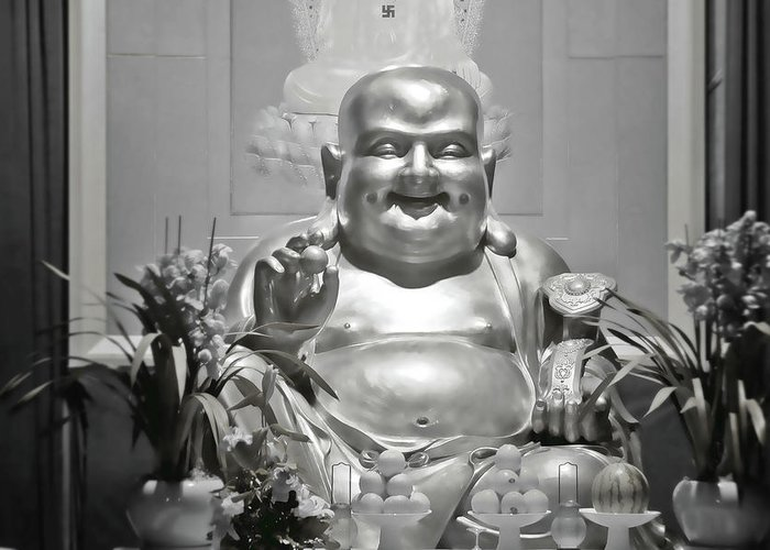Buddhism Greeting Card featuring the photograph Laughing Buddha - A Symbol Of Joy And Wealth by Christine Till