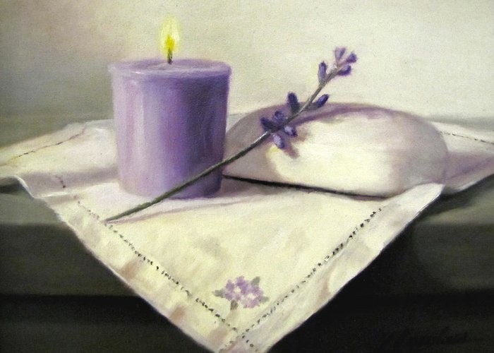 Lavender Flowers Greeting Card featuring the painting Lavender Sprig by Linda Jacobus