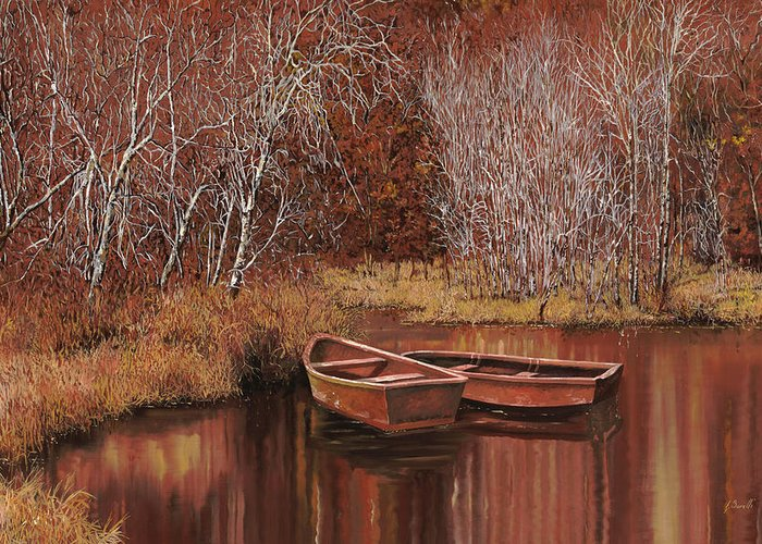 Boats Greeting Card featuring the painting Le Barche Sullo Stagno by Guido Borelli