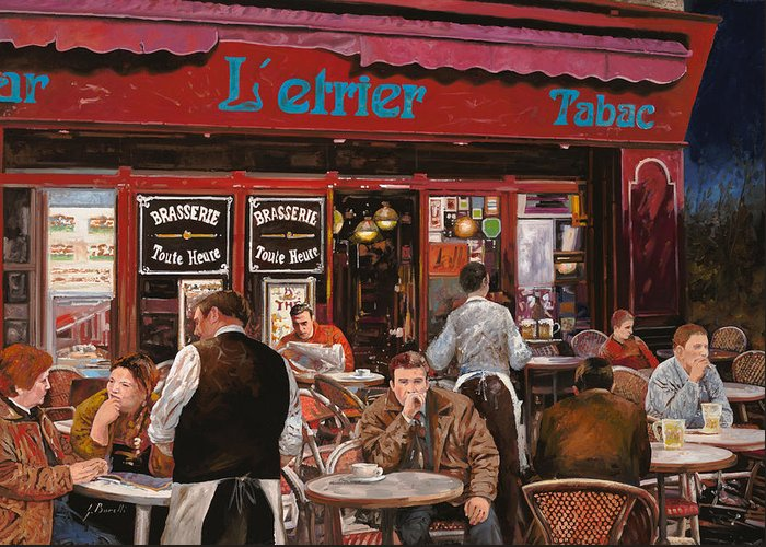 Brasserie Greeting Card featuring the painting Le Mani In Bocca by Guido Borelli