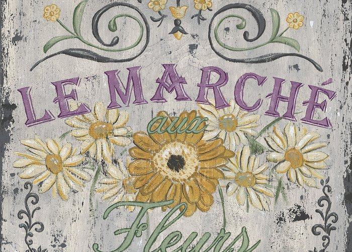 Le Marche Greeting Card featuring the painting Le Marche Aux Fleurs 1 by Debbie DeWitt