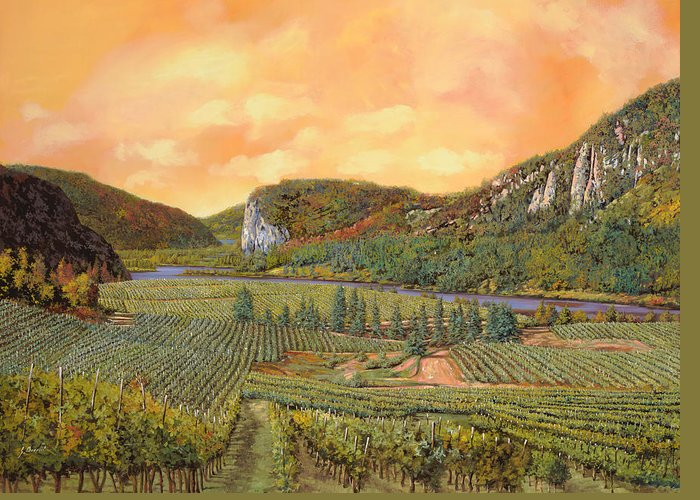 Vineyard Greeting Card featuring the painting Le Vigne Nel 2010 by Guido Borelli