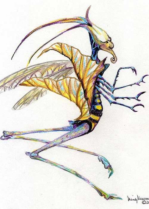 Insect Greeting Card featuring the drawing Leaf Hopper by Mindy Newman