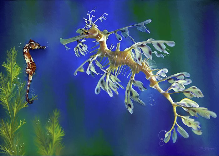 Sea Dragon Greeting Card featuring the digital art Leafy Sea Dragon by Thanh Thuy Nguyen