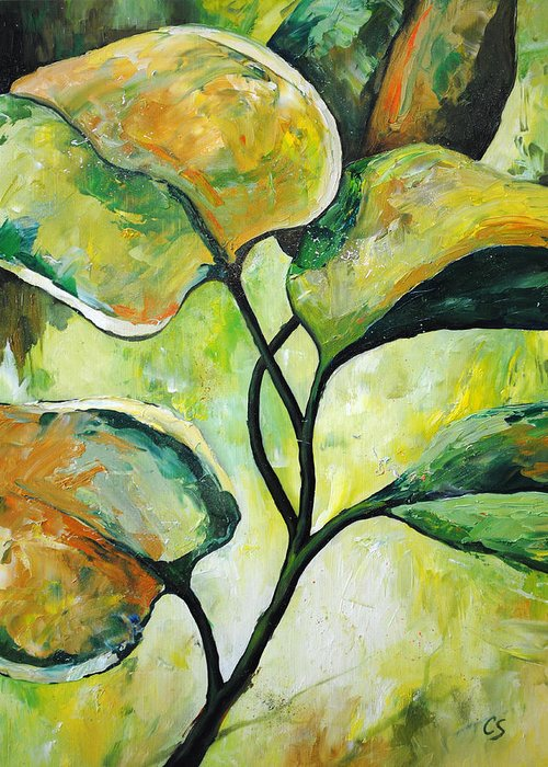 Leaves Greeting Card featuring the painting Leaves2 by Chris Steinken