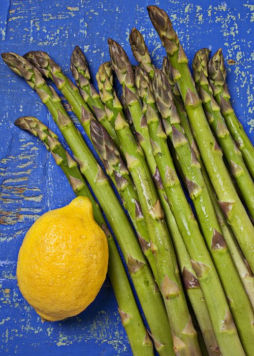 Lemon Greeting Card featuring the photograph Lemon And Asparagus by Garry Gay