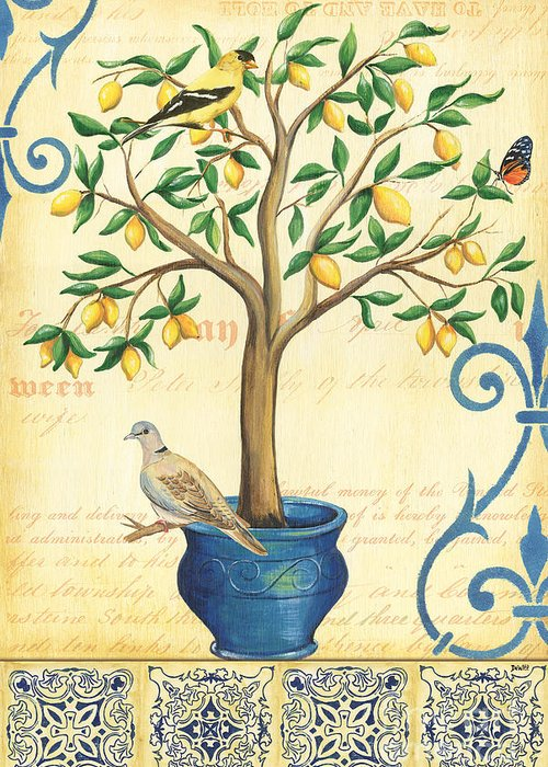 Lemon Greeting Card featuring the painting Lemon Tree Of Life by Debbie DeWitt