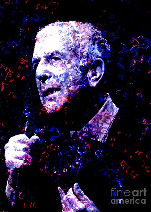 Songwriter Greeting Card featuring the mixed media Leonard Cohen by Tammera Malicki-Wong