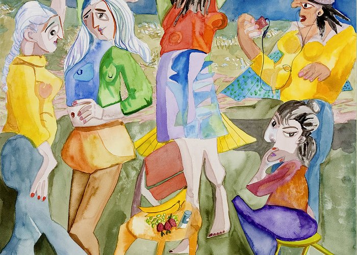 Girls Greeting Card featuring the painting Les Demoiselles Of Santa Cruz V3 by Susan Cafarelli Burke