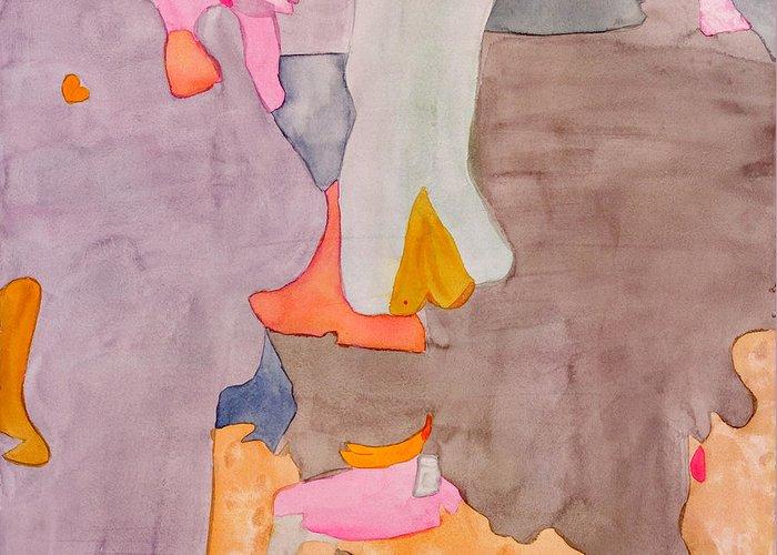 Abstract Greeting Card featuring the painting Les Demoiselles Of Santa Cruz V6 by Susan Cafarelli Burke