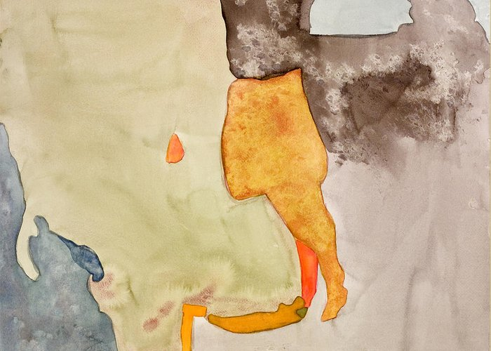 Abstract Greeting Card featuring the painting Les Demoiselles Of Santa Cruz V7 by Susan Cafarelli Burke