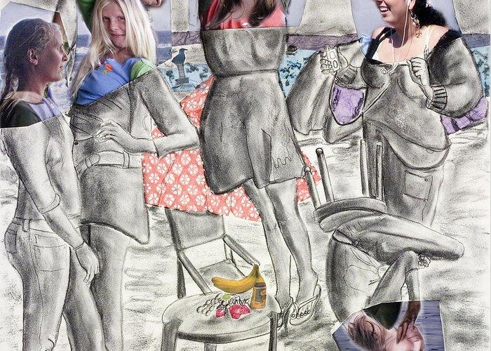Girls Greeting Card featuring the painting Les Demoiselles Of Santa Cruz V8 by Susan Cafarelli Burke