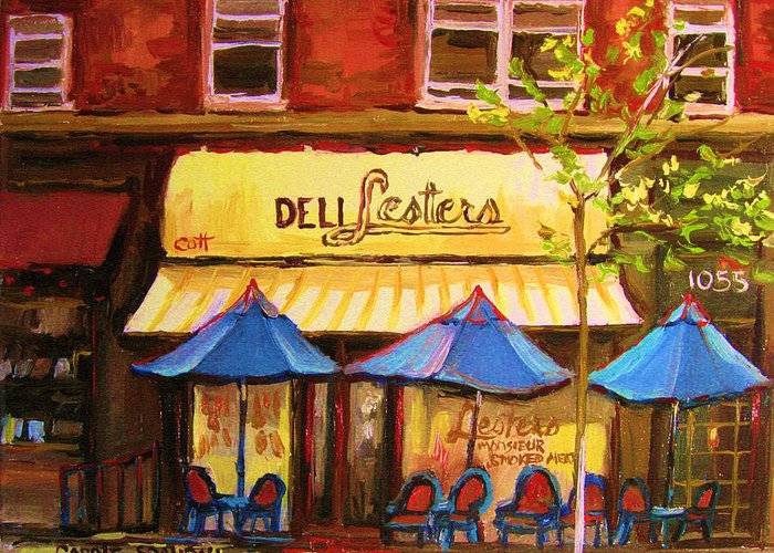 Lesters Deli Greeting Card featuring the painting Lesters Cafe by Carole Spandau