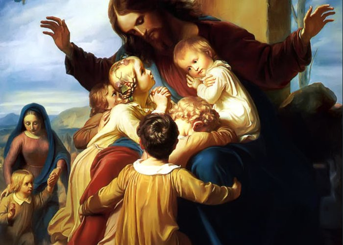 Let The Children Come To Me Print Greeting Card featuring the painting Let The Children Come To Me by Carl Vogel von Vogelstein