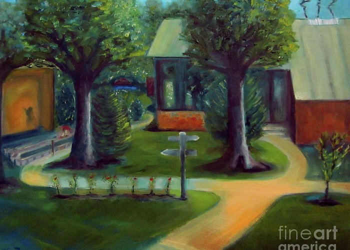 Oil Painting Greeting Card featuring the painting Lichterman Nature Center by Karen Francis