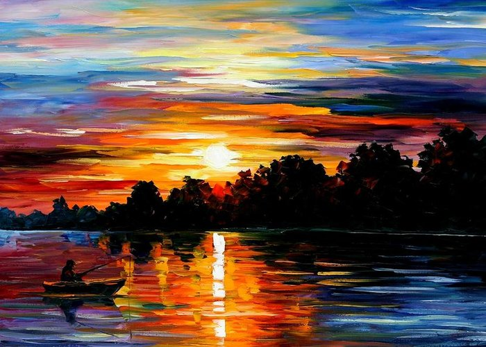 Afremov Greeting Card featuring the painting Life Memories by Leonid Afremov