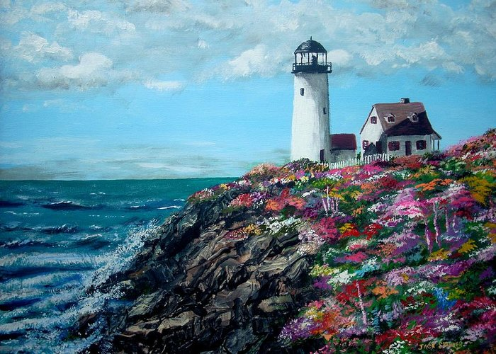 Lighthouse Sea Greeting Card featuring the painting Lighthouse At Flower Point by Jack Skinner