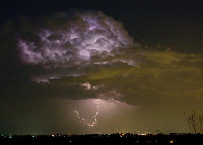 Striking Greeting Card featuring the photograph Lightning Thunderstorm With A Hook by James BO Insogna