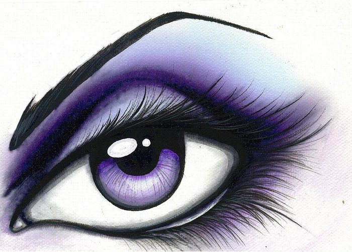 Fantasy Eye Greeting Card featuring the painting Lilac by Elaina Wagner
