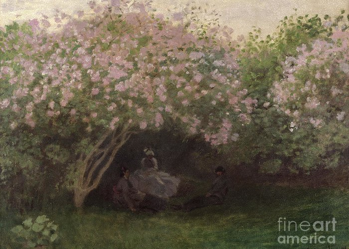 Lilacs Greeting Card featuring the painting Lilacs by Claude Monet