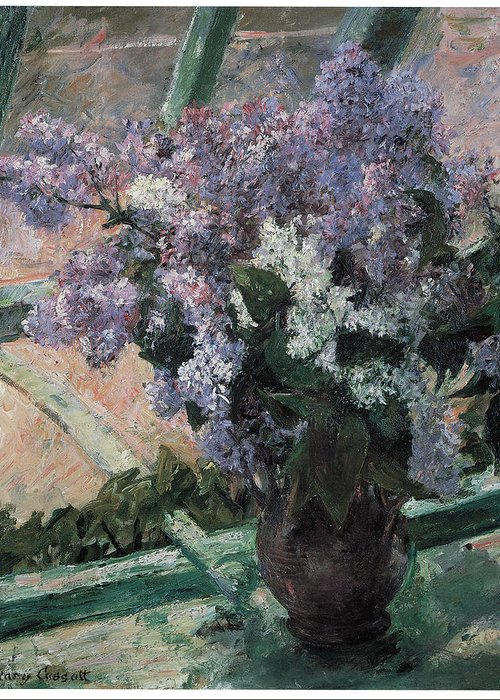 Mary Cassatt Greeting Card featuring the painting Lilacs In A Window by Mary Cassatt