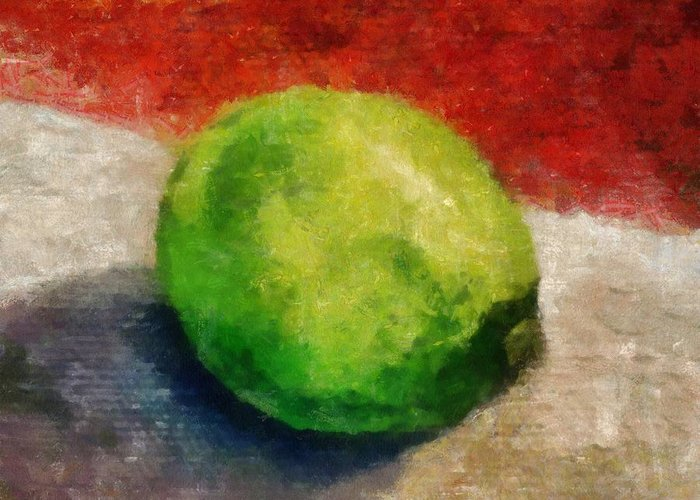 Lime Greeting Card featuring the painting Lime Still Life by Michelle Calkins