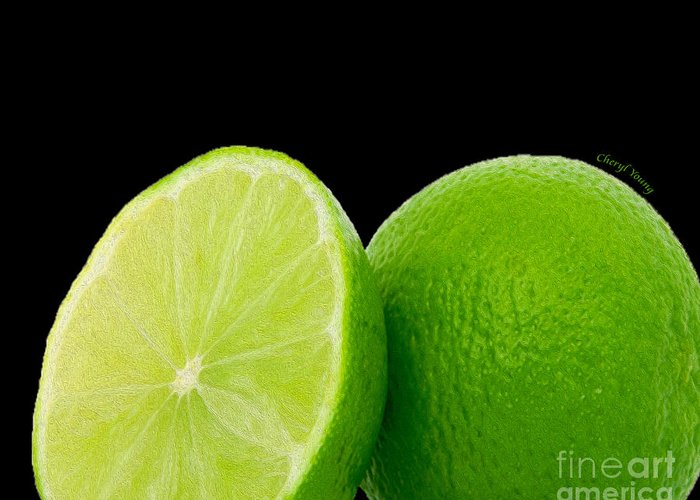 Limes Greeting Card featuring the photograph Limes by Cheryl Young