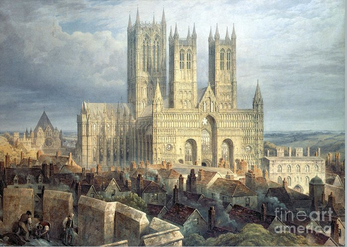 Lincoln Greeting Card featuring the painting Lincoln Cathedral From The North West by Frederick Mackenzie