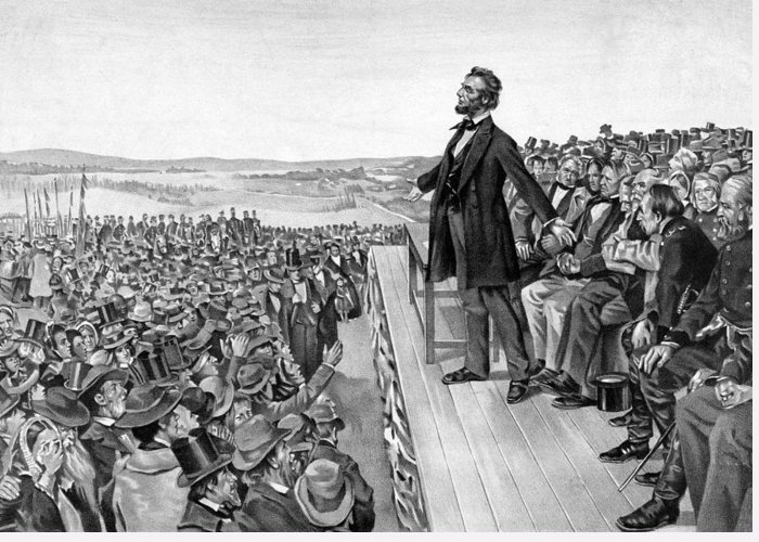 Gettysburg Address Greeting Card featuring the drawing Lincoln Delivering The Gettysburg Address by War Is Hell Store