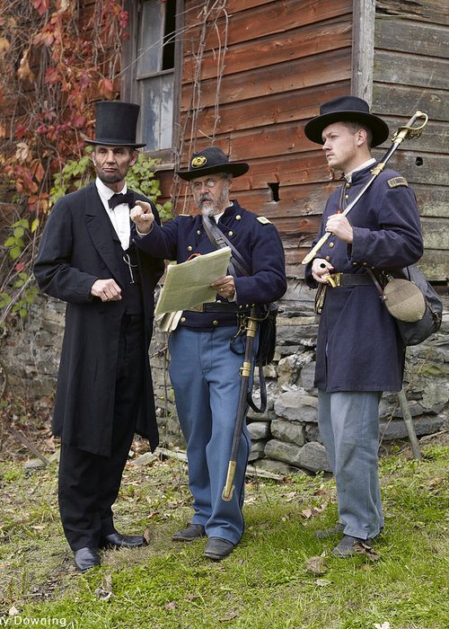 Abraham Lincoln Greeting Card featuring the digital art Lincoln With Officers 2 by Ray Downing