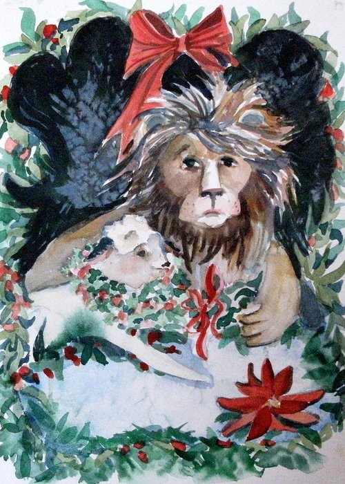 Lion Greeting Card featuring the painting Lion And Lamb by Mindy Newman