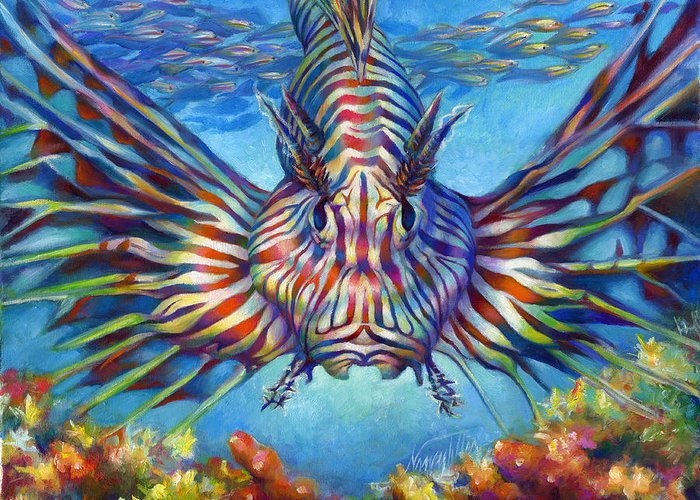 Lion Fish Greeting Card featuring the painting Lion Fish by Nancy Tilles