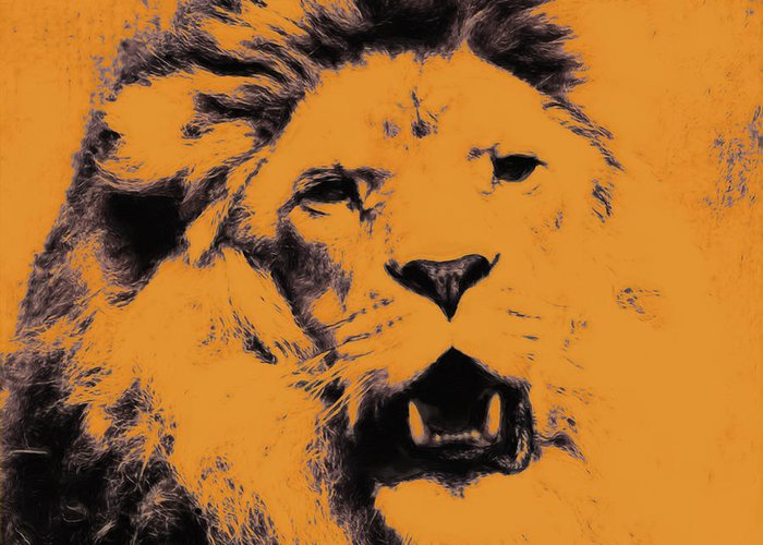 Lion Greeting Card featuring the digital art Lion Pop Art by Angela Doelling AD DESIGN Photo and PhotoArt