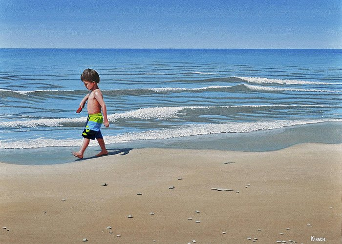 Beach Greeting Card featuring the painting Little Explorer by Kenneth M Kirsch