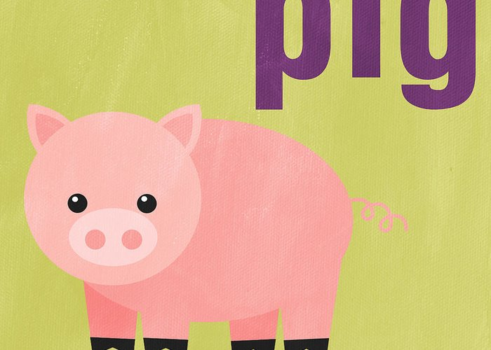 Pig Greeting Card featuring the painting Little Pig by Linda Woods