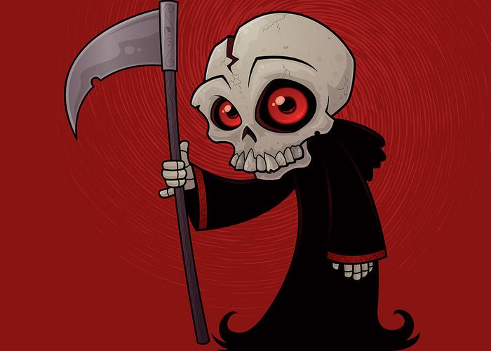 Grim Reaper Greeting Card featuring the drawing Little Reaper by John Schwegel