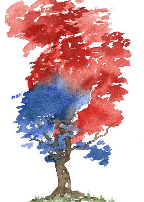 American Greeting Card featuring the painting Little Zen Tree 292 by Sean Seal