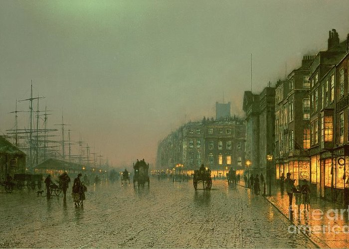 Liverpool Greeting Card featuring the painting Liverpool Docks From Wapping by John Atkinson Grimshaw