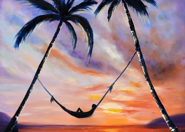 Sunset Greeting Card featuring the painting Living The Dream by Gina De Gorna