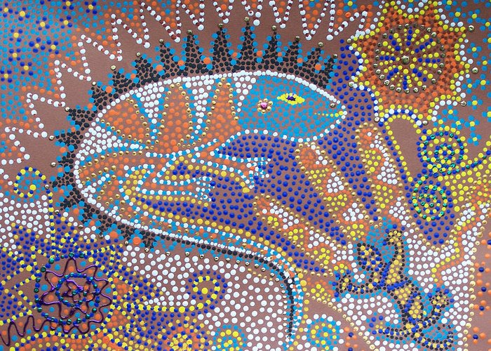 Lizard Greeting Card featuring the painting Lizard Dreaming by Vijay Sharon Govender