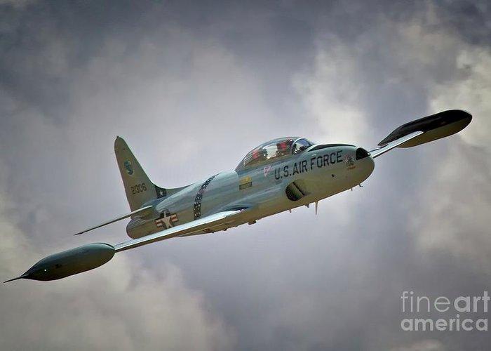 Airplane Greeting Card featuring the photograph Lockheed P-80 Shooting Star 2011 Chino Air Show by Gus McCrea