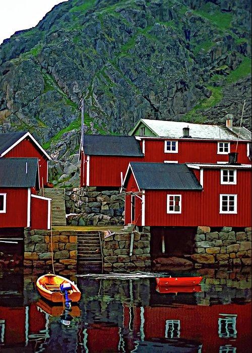 Lofoten Greeting Card featuring the photograph Lofoten Fishing Huts Oil by Steve Harrington